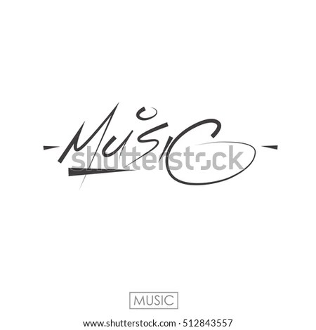 Music Word Hand Drawn Lettering Music Stock Vector (Royalty Free