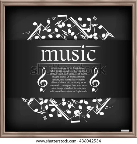 Musical Background Clef Notes Chalkboard Effect Stock Vector