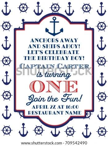 Nautical Sailor Theme Printable Baby Birthday Stock Vector (Royalty