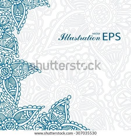 Navy Blue Indian Paisley Template Wedding Stock Vector (Royalty Free