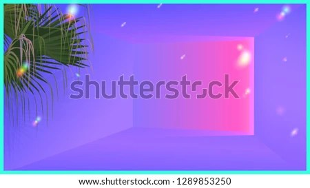 Neon Glow Ambient Room Tropical Palm Stock Vector (Royalty Free