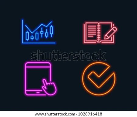 Neon Lights Set Financial Diagram Feedback Stock Vector (Royalty