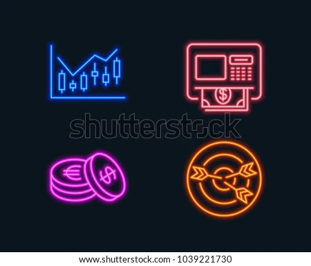 Neon Lights Set Financial Diagram Savings Stock Vector (Royalty Free