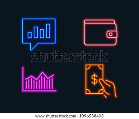 Neon Lights Set Money Wallet Money Stock Vector (Royalty Free