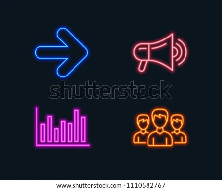 Neon Lights Set Next Bar Diagram Stock Vector (Royalty Free