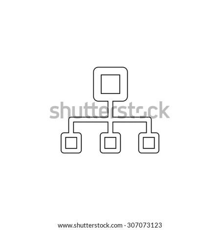 Network Block Diagram Outline Black Simple Stock Vector (Royalty