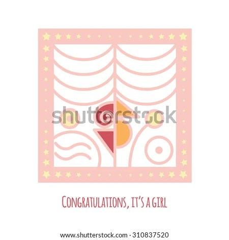 New Baby Girl Announcement Card Abstract Stock Vector (Royalty Free