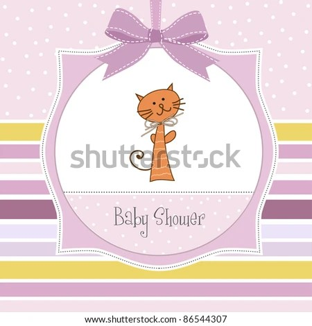 New Baby Girl Announcement Card Stock Vector (Royalty Free) 86544307