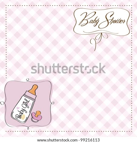 New Baby Girl Announcement Card Milk Stock Vector (Royalty Free