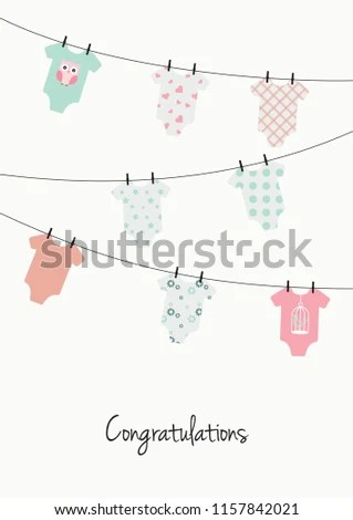 New Baby Girl Congratulations Card Pink Stock Vector (Royalty Free