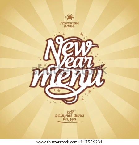 New Year Menu Card Design Template Stock Vector (Royalty Free