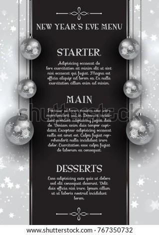 New Years Eve Menu Design Hanging Stock Vector (Royalty Free
