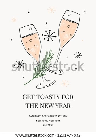 New Years Invitation Template Vector Holiday Stock Vector (Royalty