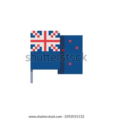 New Zealand Flag Pixel Art Icon Stock Vector (Royalty Free