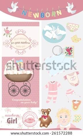 Newborn Baby Girl Congratulations Vector Vintage Stock Vector