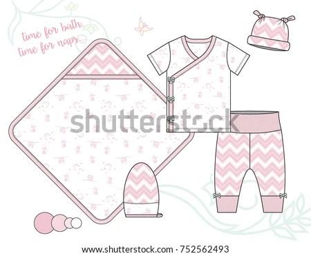 Newborn Baby Girl Fashion Illustration Owl Stock Vector (Royalty