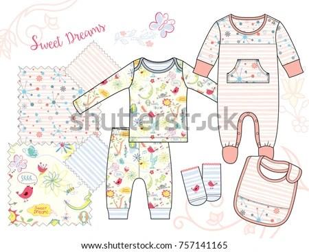 Newborn Baby Girl Fashion Illustration Sweet Stock Vector (Royalty