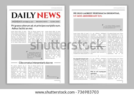 Newspaper Template Design Mockup Newspaper Layout Stock Vector