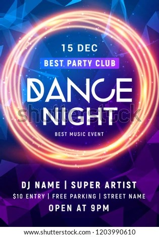 Night Dance Party Music Night Poster Stock Vector (Royalty Free