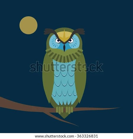Night Owl On Branch Geometric Shapes Stock Vector (Royalty Free