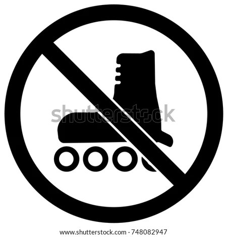 No Roller Blading Sign Black White Stock-Vektorgrafik (Lizenzfrei