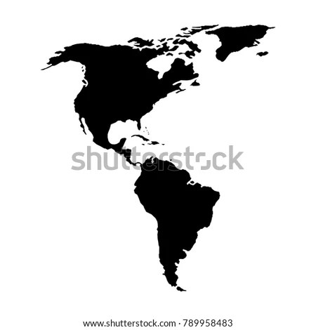 North South America Map American Continent Stock Vector (Royalty