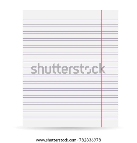 Notebook Blank Paper Background Sheet Paper Stock Vector (Royalty