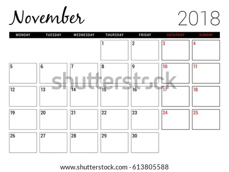 November 2018 Printable Calendar Planner Design Stock Vector