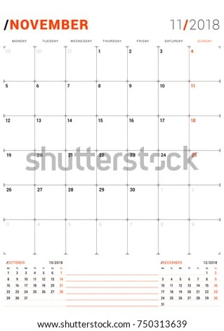 November 2018 Vector Print Template Monthly Stock Vector (Royalty