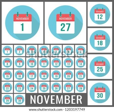 November Calendar Icon Reminder Vector Page Stock Vector (Royalty