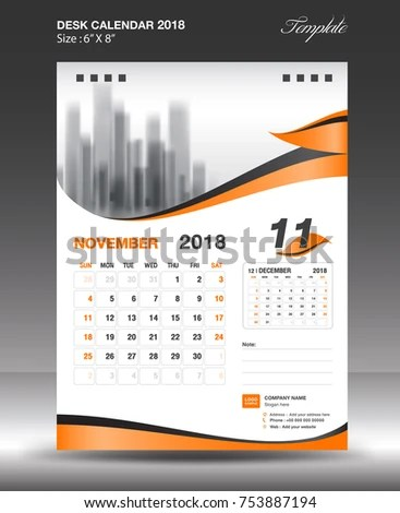 November Desk Calendar 2018 Template Design Stock Vector (Royalty
