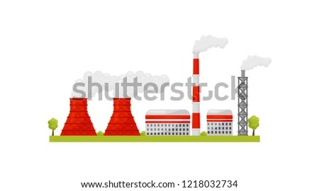 Nuclear Power Plant Industrial Buildings Smoking Stock Vector