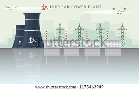 Nuclear Power Plant Vector Illustration Background Stock Vector
