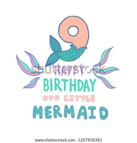 Number Nine Mermaid Tail Vector Illustration Stock Vector (Royalty