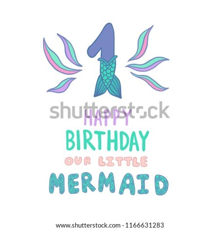 Number One Mermaid Tail Vector Illustration Stock Vector (Royalty