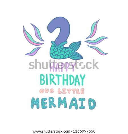 Number Two Mermaid Tail Vector Illustration Stock Vector (Royalty