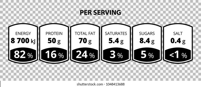 Nutrition Facts Information Label Template Daily Stock Vector