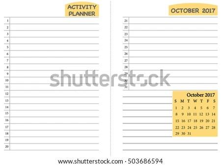 October 2017 Calendar Template Monthly Planner Stock Vector (Royalty