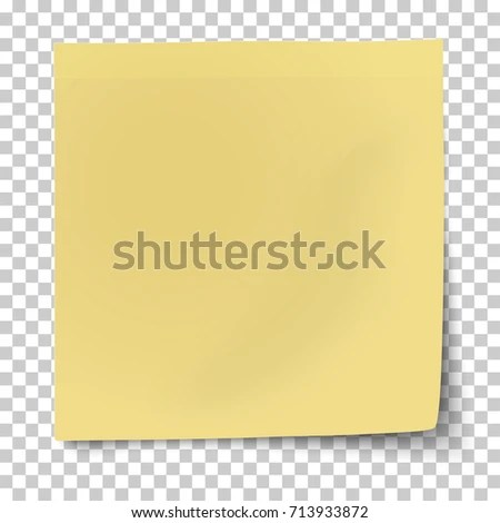 Office Yellow Paper Sticky Note Bent Stock Vector (Royalty Free