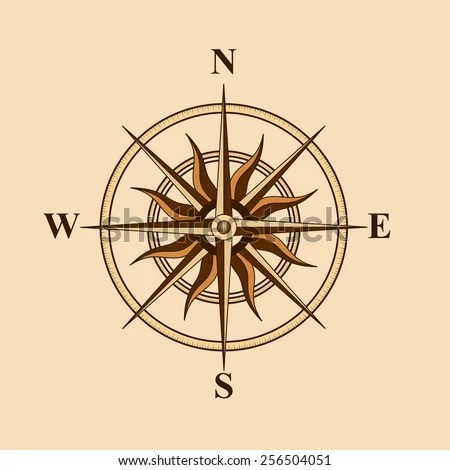 Old Compass Design Card On Yellow Stock Vector (Royalty Free
