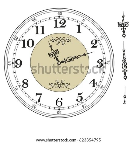 Old Elegant Clock Face Template Numerals Stock Vector (Royalty Free