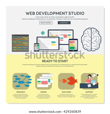 One Page Web Design Template Web Stock Vector (Royalty Free
