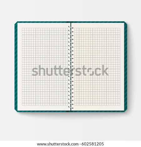 Open Realistic Notebook Pages Diary Office Stock Vector (Royalty