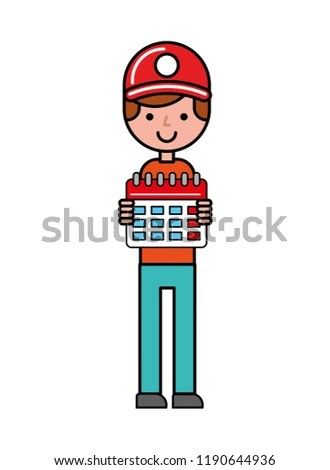 Operator Holding Calendar Planning Online Shopping Stock Vector