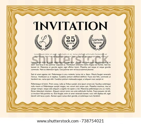 Orange Formal Invitation Template Customizable Easy Stock Vector