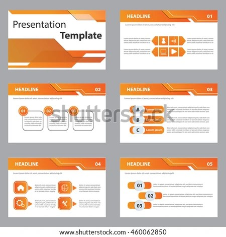 Orange Presentation Template Infographic Elements Flat Stock Vector