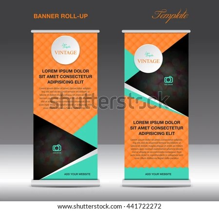 Orange Roll Banner Stand Template Vintage Stock Vector (Royalty Free