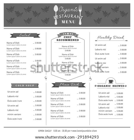 Organic Food Restaurant Menu Design Template Stock Vector (Royalty