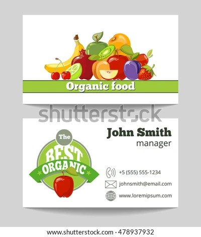 Organic Food Shop Business Card Template Stock Vector (Royalty Free