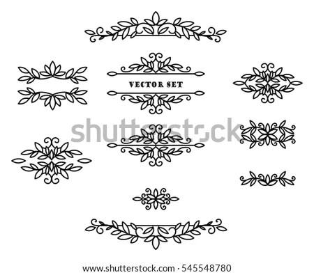 Original Frames Scroll Elements Floral Linear Stock Vector (Royalty